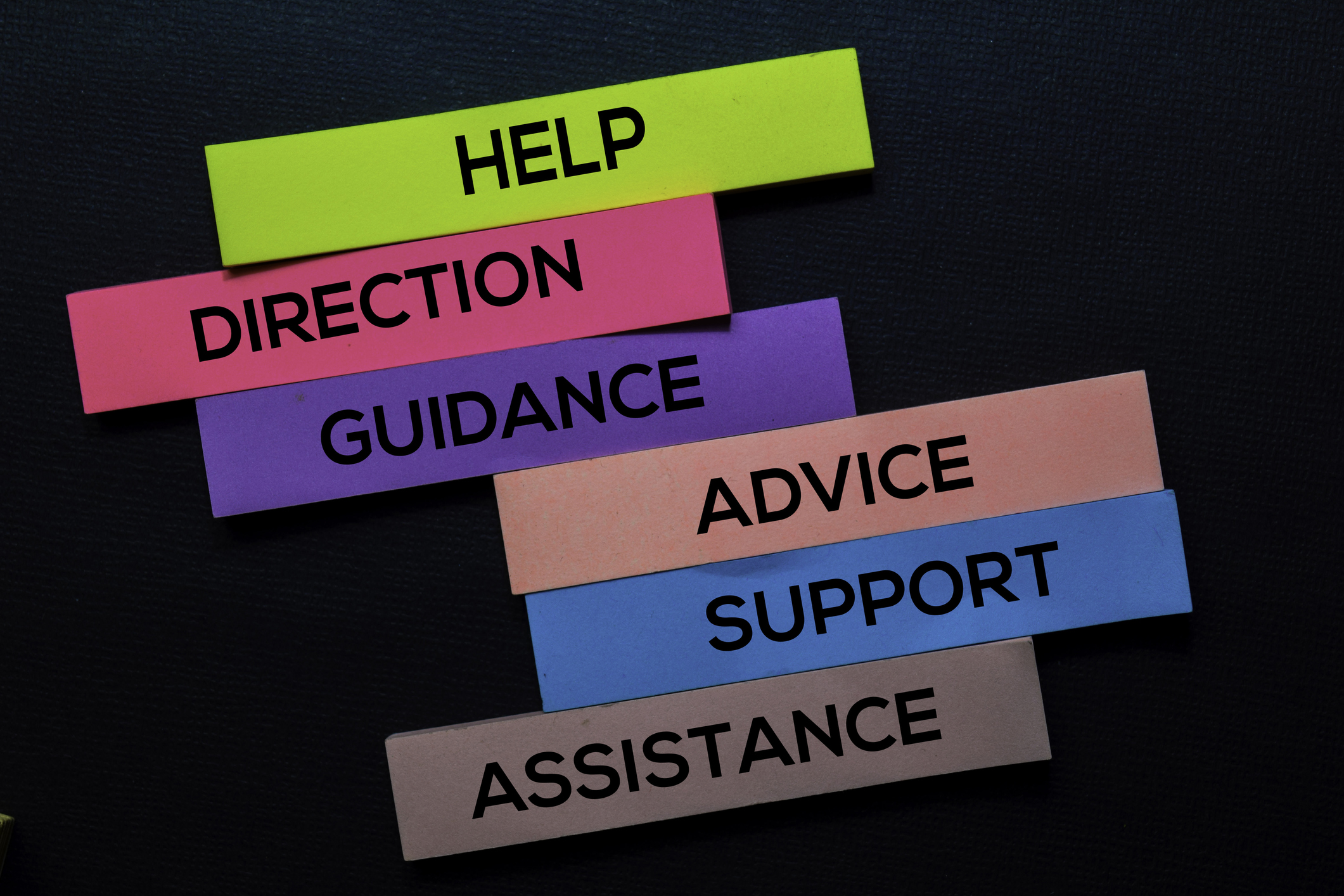 Help and guidance post it notes